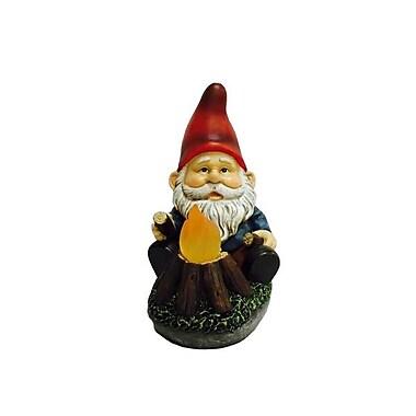 Hi-Line Gift – Gnome assis près d'un feu de camp lumineux, lampe solaire DEL