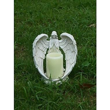 Hi-Line Gift – Porte-bougie sans flamme en forme d'ange, 9 po, blanc
