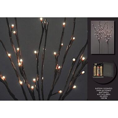 Hi-Line Gift – Lumières florales, branches de saule, 60 lumières DEL, batterie avec minuterie