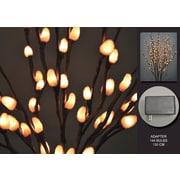Hi-Line Gift – Lumières florales, branche de saule décoloré, adaptateur c.a.