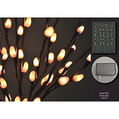 Hi-Line Gift – Lumières florales, branches de saule blanc, 80 lumières, adaptateur c.a.