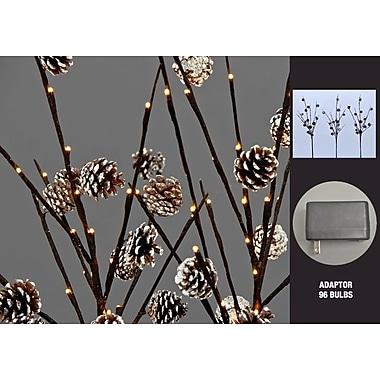 Hi-Line Gift – 96 lumières florales, branches ornées de pommes de pin avec 96 DEL et 42 pommes de pin, 37 379