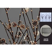Hi-Line Gift 37379, 96 Floral Lights, Pinecone Branches with 96 LED Lights and 42 Pinecones