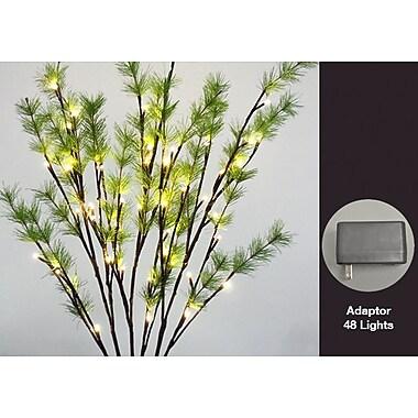 Hi-Line Gift – 48 lumières florales, branches ornées d'aiguilles de pin, 48 DEL de couleur blanc chaud, 37 393