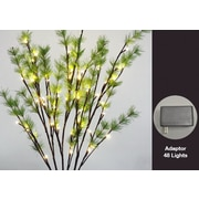 Hi-Line Gift 37393, 48 Floral Lights, Branch with Pine Needles, 48 Warm White LED Lights