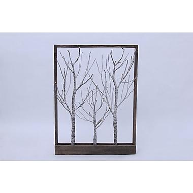 Hi-Line Gift – Arbres bruns recouverts de neige et encadrés, 32 DEL de couleur blanc chaud, 37428-SN