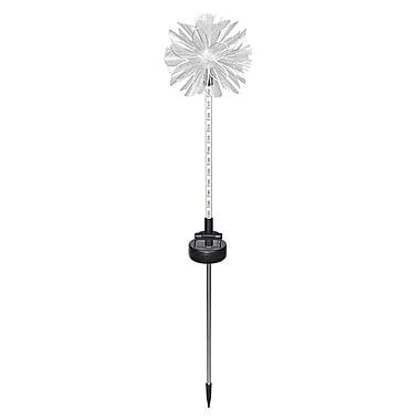 Hi-Line Gift – Lumière solaire en forme de fleur blanche avec pieu, 12 voyants à DEL clignotants, blanc