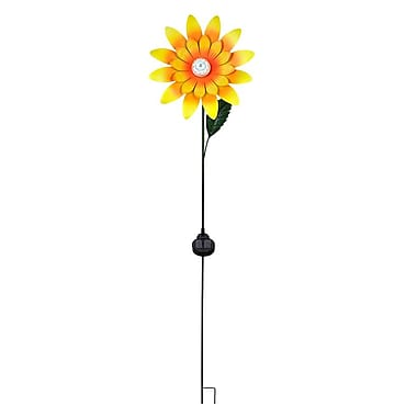 Hi-Line Gift – Tournesol tournant avec piquet et lumières DEL solaires, 55 po
