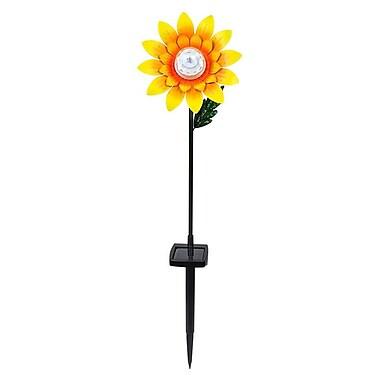 Hi-Line Gift – Tournesol tournant avec piquet et lumières DEL solaires, 27,5 po