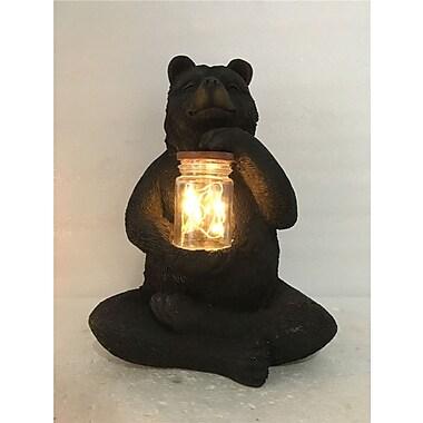 Hi-Line Gift – Ours assis avec un pot rempli d'une guirlande de lumière