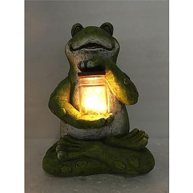 Hi-Line Gift – Grenouille assise avec un pot rempli d'une guirlande de lumière