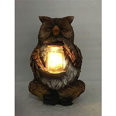 Hi-Line Gift – Hibou assis avec un pot rempli d'une guirlande de lumière