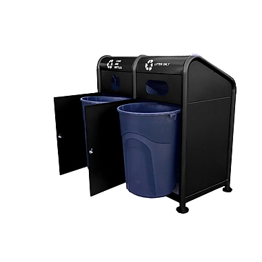 Paris Site Furnishings – Station de recyclage en acier, 68 gallons, noir (461-207-0006)