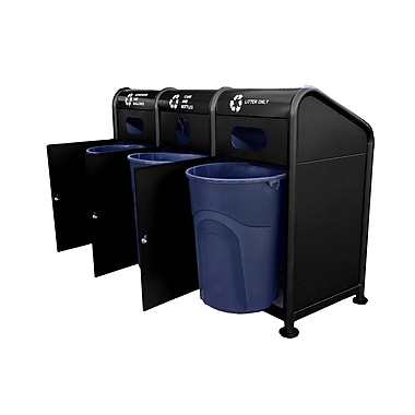 Paris Site Furnishings – Station de recyclage en acier, 102 gallons, noir (461-205-0006)