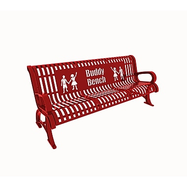 Paris Site Furnishings Premium Buddy Bench, 6 ft, English, Red (460-332-0010)
