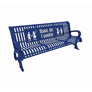 Paris Site Furnishings Premium Buddy Bench, 6 ft, French, Blue (460-336-0003)