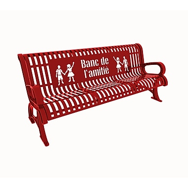 Paris Site Furnishings Premium Buddy Bench, 6 ft, French, Red (460-336-0010)