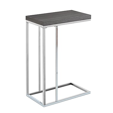 Monarch I 3228 Accent Table, Grey with Chrome Metal