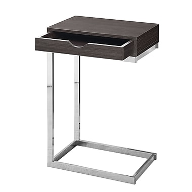 Monarch I 3229 Accent Table with a Drawer, Chrome Metal, Grey
