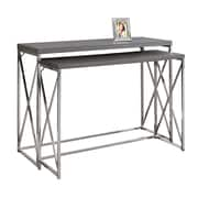 Monarch I 3227 2-Piece Console Table, Grey with Chrome Metal