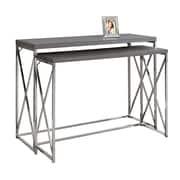 Monarch – Table console I 3227, 2 pièces, gris et métal chromé