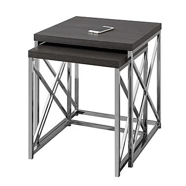 Monarch I 3226 2-Piece Nesting Table Set, Grey with Chrome Metal