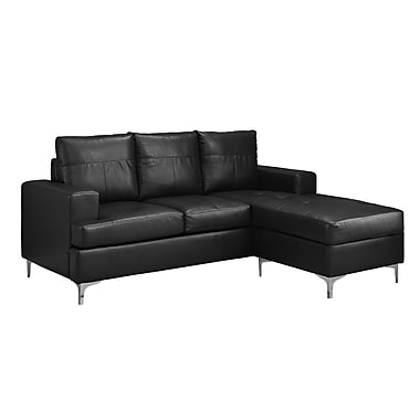 Monarch – Sofa chaise longue I 8600BK, cuir reconstitué, noir