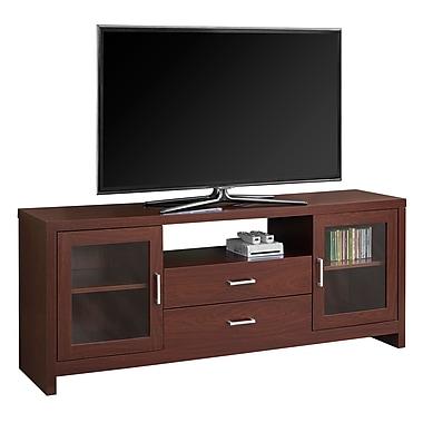 Monarch – Meuble TV I 2714 avec tiroirs et portes en verre, 60 po de long, cerisier chaud