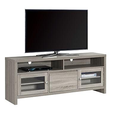 Monarch – Meuble TV I 2709 avec portes en verre, 60 po de long, taupe foncé
