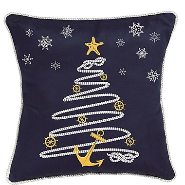 Rightside Design Nautical Holiday Rope Tree Throw Pillow