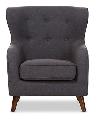 Wholesale Interiors Baxton Studio Sabrina Upholstered Club Chair; Dark Gray