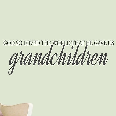 SweetumsWallDecals God Gave Us Grandchildren Wall Decal; DarkGray