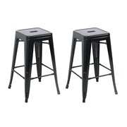 Belleze 30'' Bar Stool (Set of 2); Black