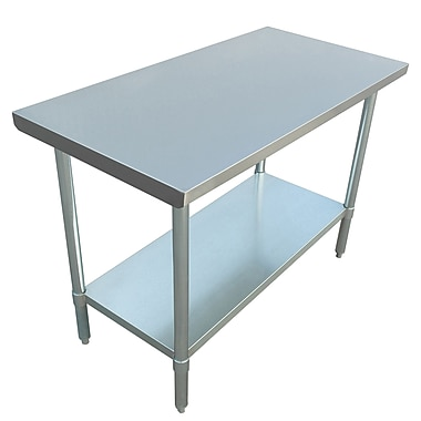 Excalibur – Table commerciale en acier inoxydable, 48 x 24 x 34 po