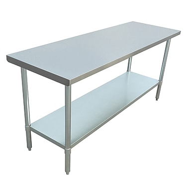 Excalibur – Table commerciale en acier inoxydable, 72 x 24 x 34 po
