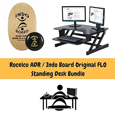 Rocelco ADR Adjustable Height Desk Riser & Indo Board Original Standing Desk Bundle, Black
