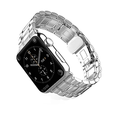 iPM Luxury Stainless Steel Link Band with Butterfly Closure for Apple Watch-42mm-Silver (WA1242SI)