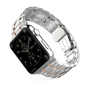 iPM Luxury Stainless Steel Link Band with Butterfly Closure for Apple Watch-38mm-Silver/Rose Gold (WA1238SIRG)