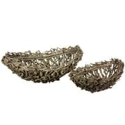 Essential Decor & Beyond 2 Piece Oval Wooden Basket Set