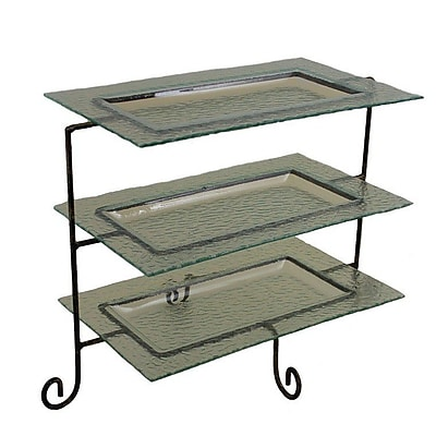Essential Decor & Beyond 4 Piece Glass Plate Tiered Stand Set