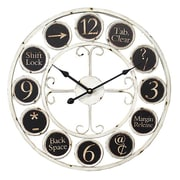 Essential Decor & Beyond 17.7'' Round Keyboard Icons Metal Wall Clock