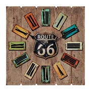 Essential Decor & Beyond Oversized Route 66 Roman Numerals Wood and Metal MDF Wall Clock