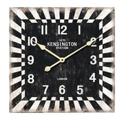 Essential Decor & Beyond Square Kensington Station Wood Wall Clock
