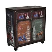 Essential Decor & Beyond 2 Door 2 Drawer Wooden Storage Living Room Cabinet
