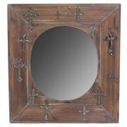 Essential Decor & Beyond Wooden Mirror w/ Crosses