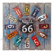 Essential Decor & Beyond Square Route 66 MDF and Metal Clock