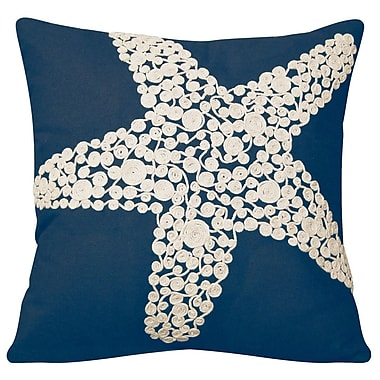Rightside Design I Sea Life Knotted Rope Starfish Linen Throw Pillow; Navy