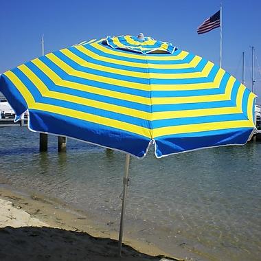 EeeTradingInternational 7' Beach Umbrella; Blue/Yellow
