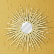 Metal Art Studio Sunburst Wall Mirror; Natural Maple