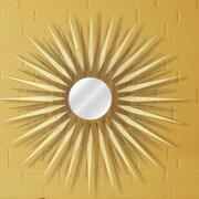 Metal Art Studio Sunburst Wall Mirror; Natural Maple / Mahogany